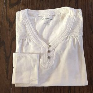 Eddie Bauer Cotton Knit Top - Ivory - Medium